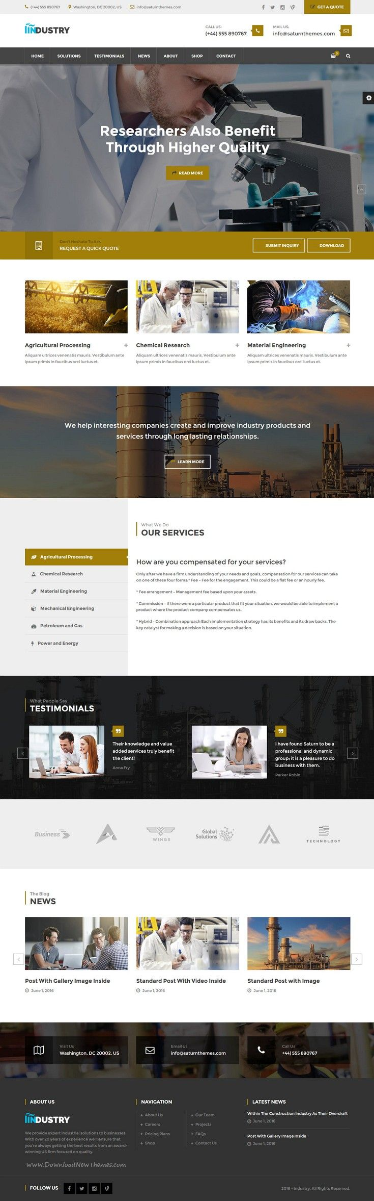 Industry is an absolutely unique WordPress theme for #industrial, factory or manufacturing #company #website. Download Now!