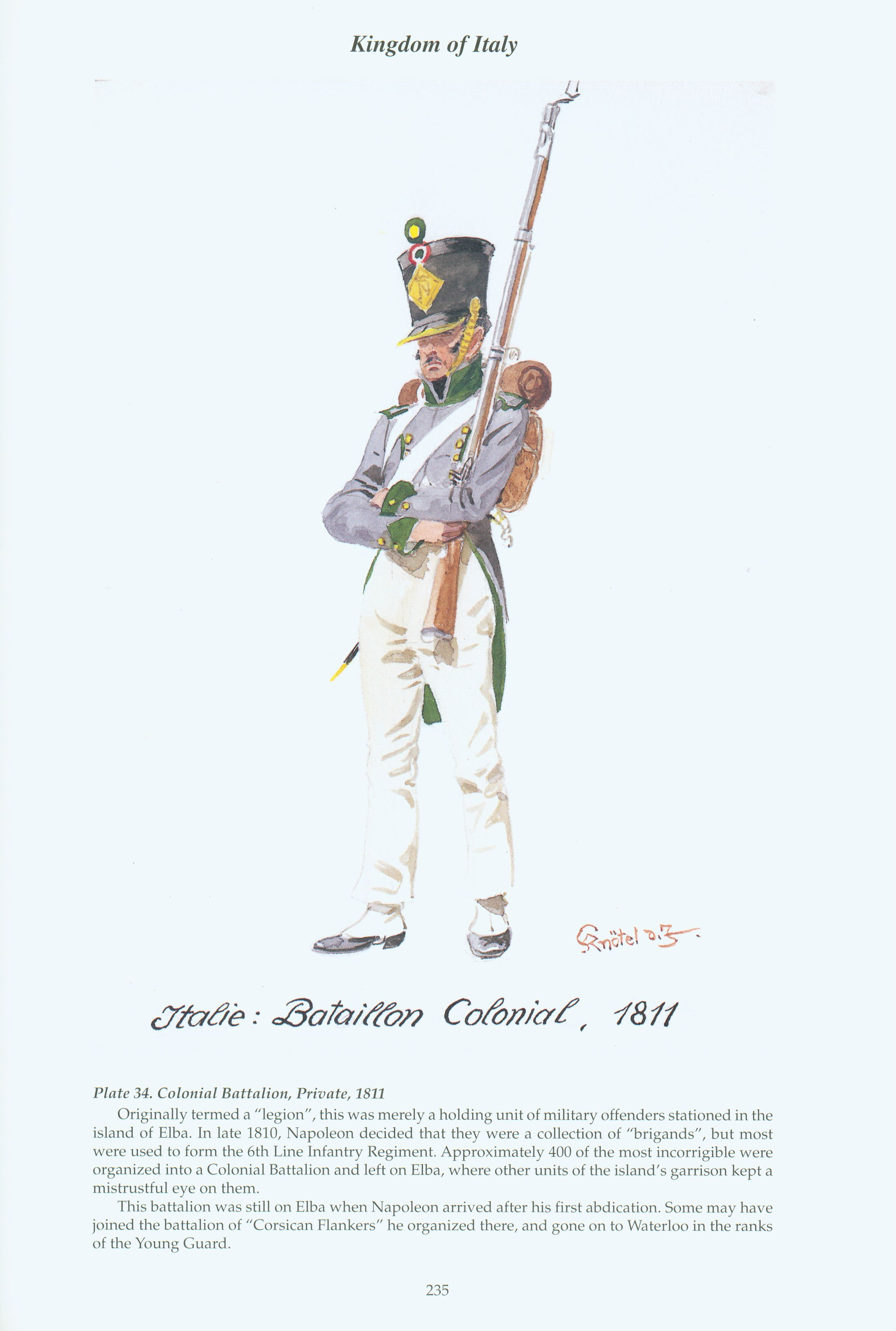 Kingdom of Italy: Plate 34: Colonial Battalion, Private, 1811