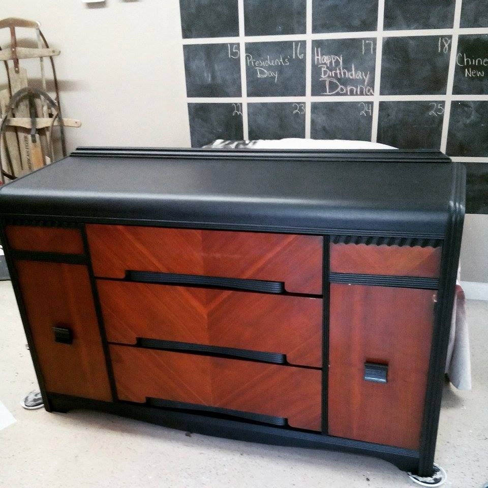 Waterfall Buffet Refinish, Painted Trim And Top, Wood Doors