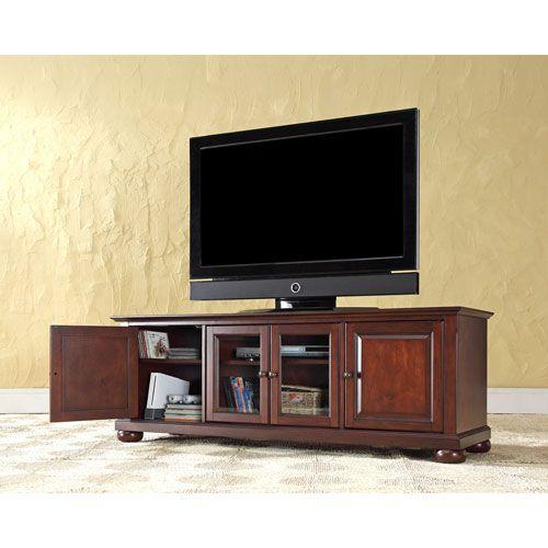 Crosley Furniture Alexandria 60 Inch Low Profile Tv Stand In Vintage Mahogany Finish Kf10005ama Low Profile Tv Stand Tv Stand Wood Wooden Tv Stands