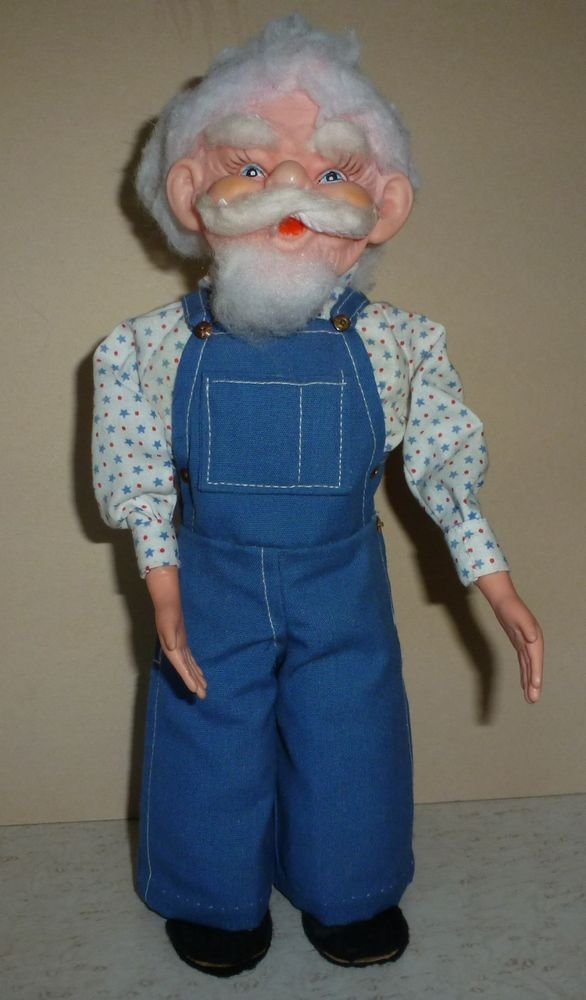 Vintage Soapy Bottle Doll Old Man Grandpa Farmer White