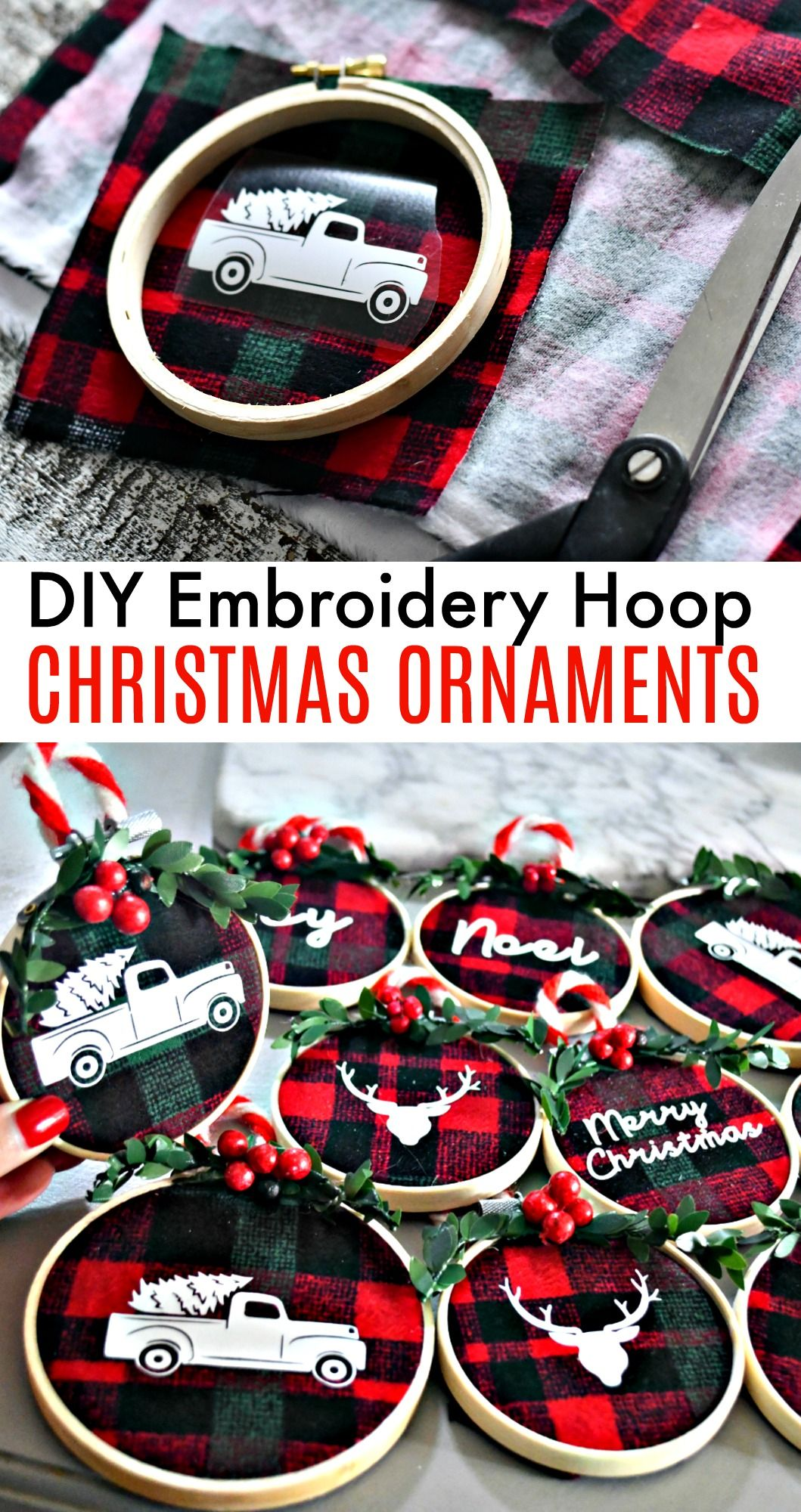 DIY Embroidery Hoop Christmas Ornaments #christmascraftstosell