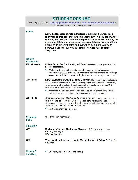 Resumes Samples For High School Students With No Experience -