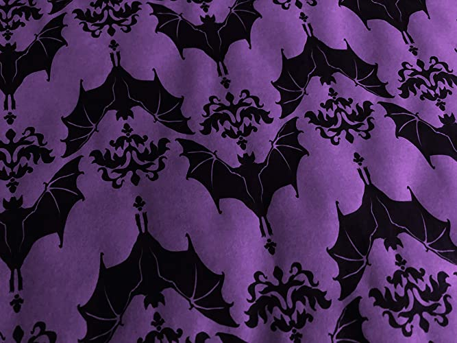 Baroque Bats on Purple Gothic Wrapping Paper up to 8 Feet of Birthday Gift Wrap