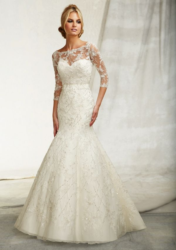 3 quarter sleeve wedding dress with sheer and lace over