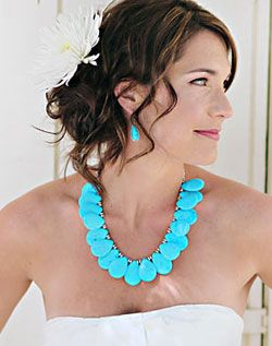 I love this chunky turquoise necklace for a wedding.