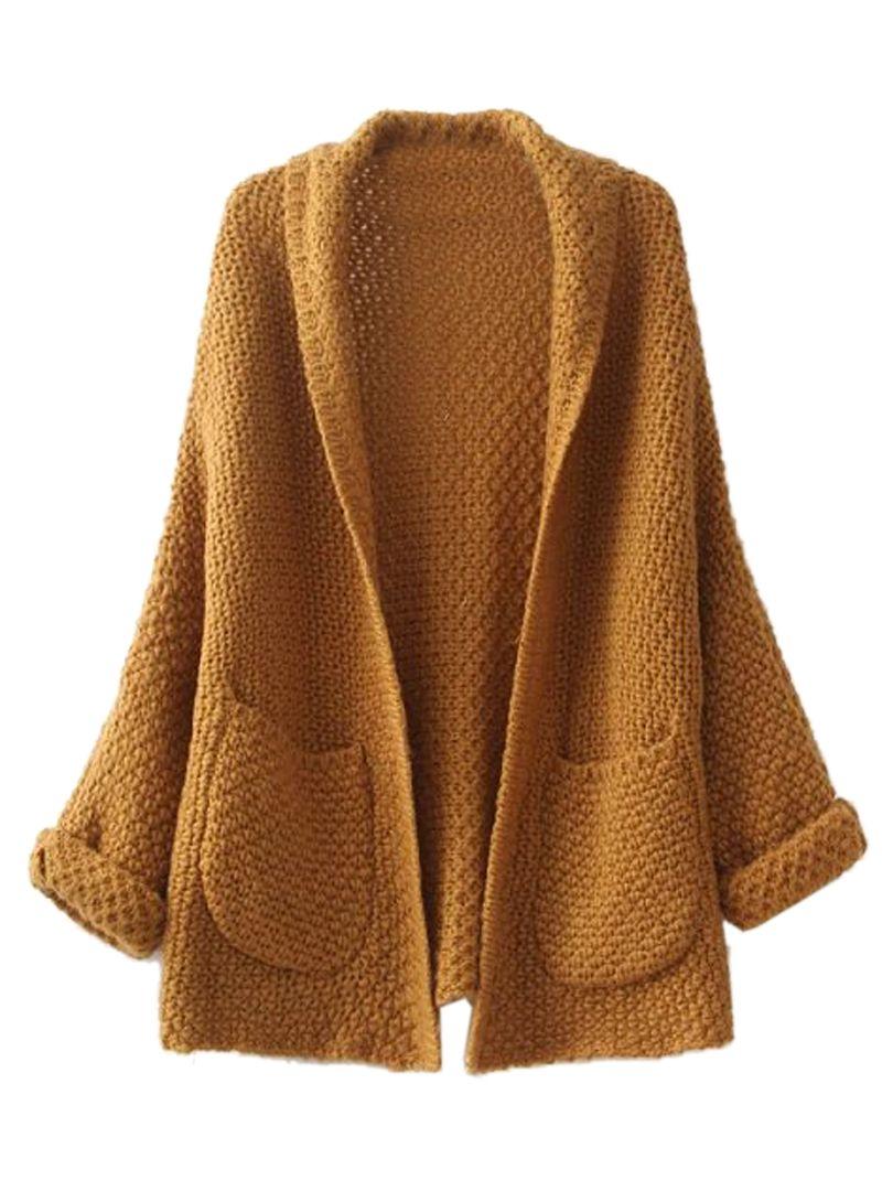 Brown Lapel Pocket Detail Open Front Long Sleeve Knit Cardigan ...