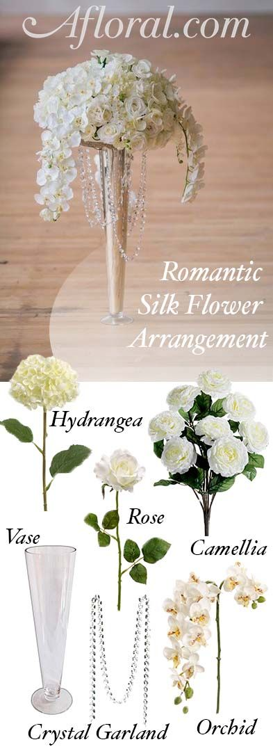 Make your romantic wedding centerpieces with silk flowers from make your romantic wedding centerpieces with silk flowers from afloral find tall vases crystal garlands and high quality faux flowers at affordable mightylinksfo