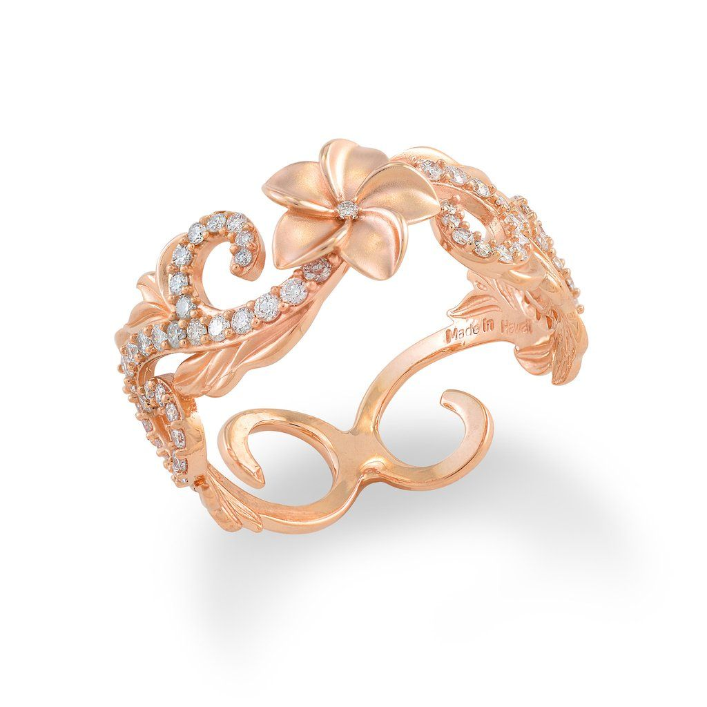 Plumeria pave scroll mm ring with diamonds in k rose gold