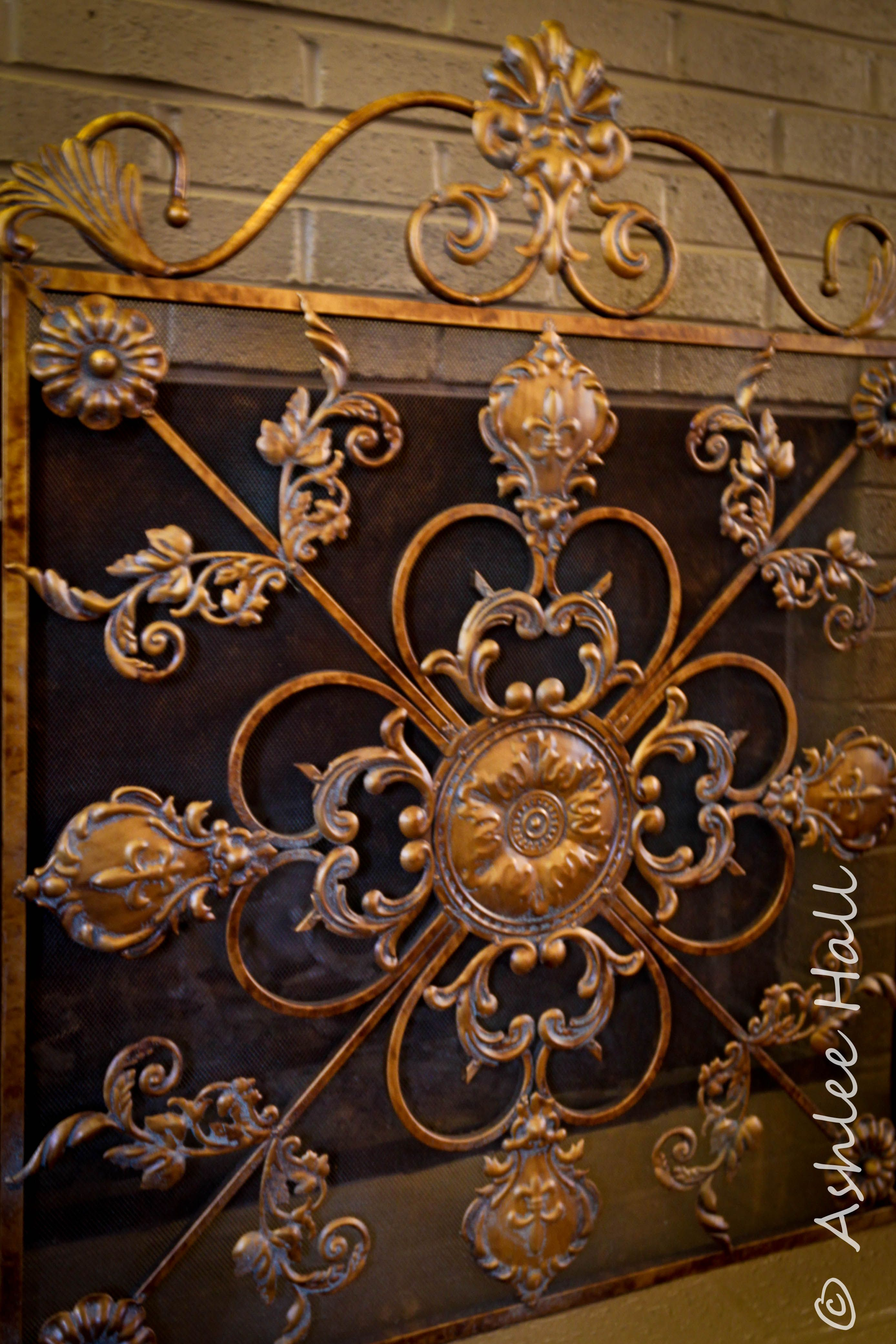 ornate fireplace guard from a real estate photography shoot this