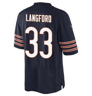 Chicago Bears #33 Jeremy Langford Navy Blue Team Color NFL Nike Elite Jersey