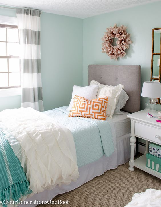 Sophisticated Age S Bedroom Makeover Light Green Walls Trance By Sherwin Williams Blue White Orange And Pink Home Decor Accents
