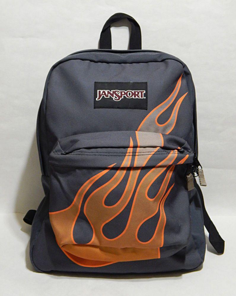 JanSport SuperBreak Backpack T501 Gray W  Gradient Orange Flames School  Book Bag  Jansport  Backpack 22238fa7749ec