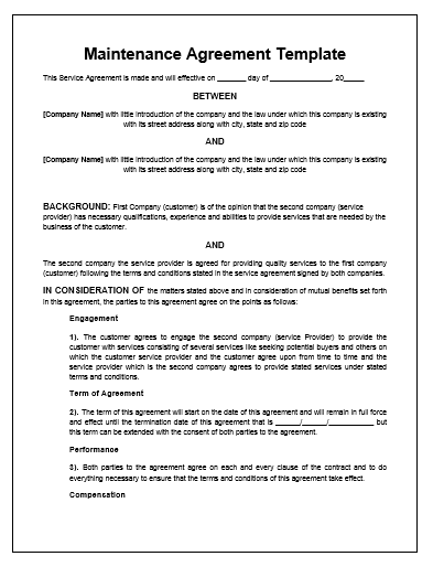 maintenance agreement template microsoft word templates service