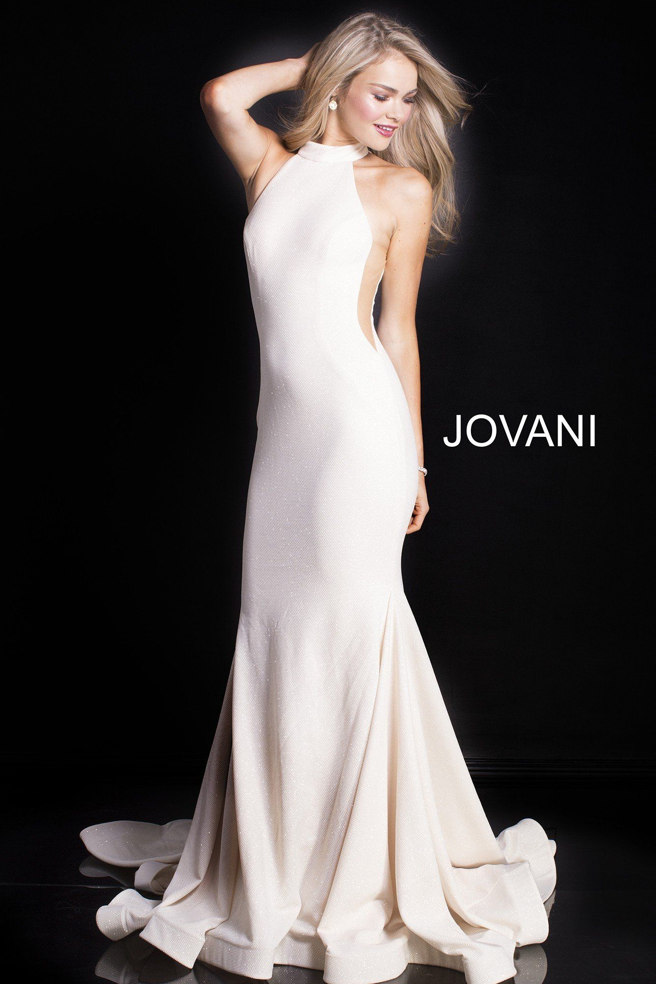 Jovani sparkly halter gown with sheer sides vestidos