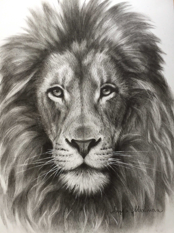 Lion picture lion painting original painting lion drawing original drawing black