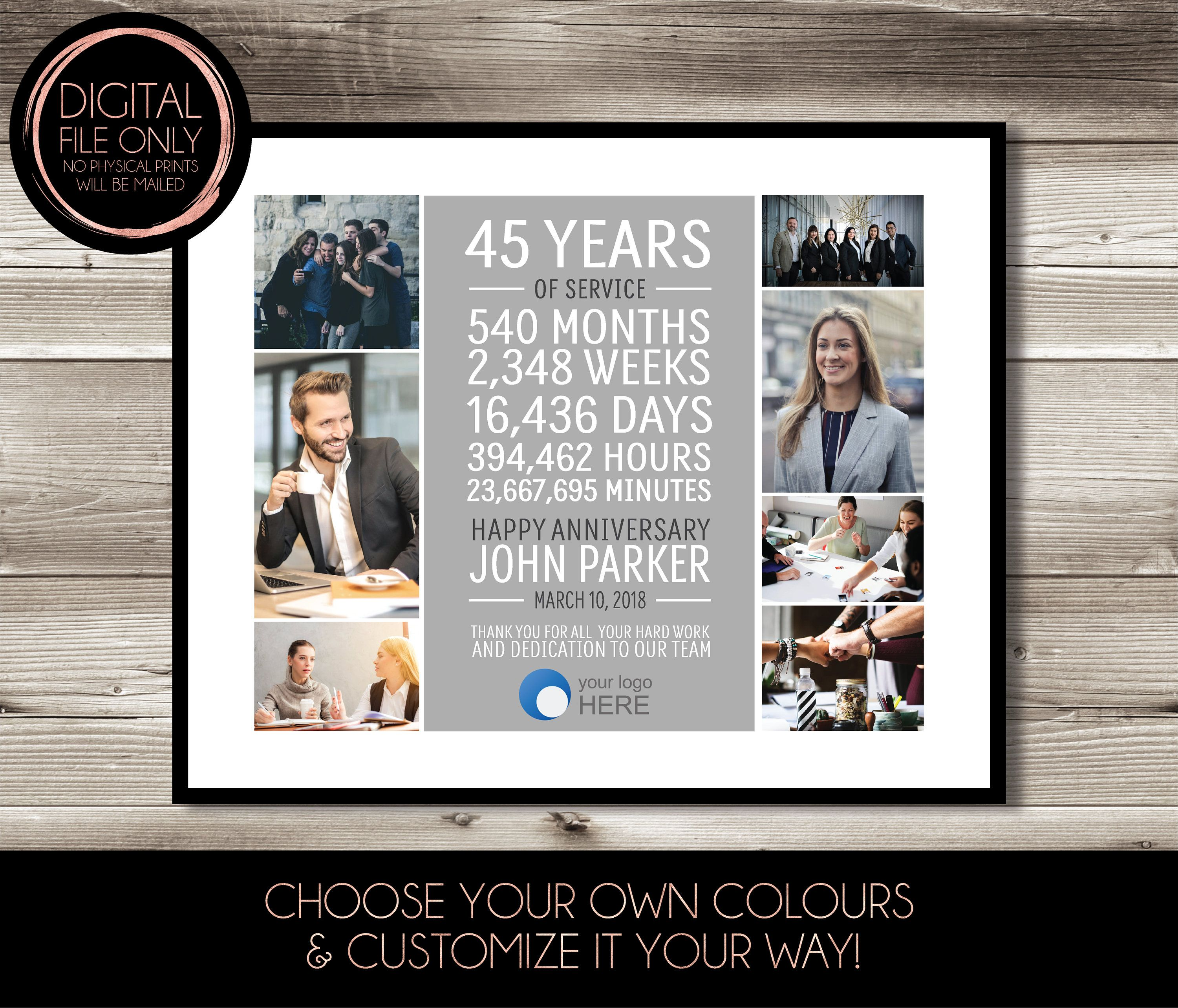 45 Year Work Anniversary Print Photo Collage Customizable Thank You Gift Years Of Service Employee Recognition Appreciation Gift Idea Work Anniversary Photo Collage Anniversary Gifts 40 Years