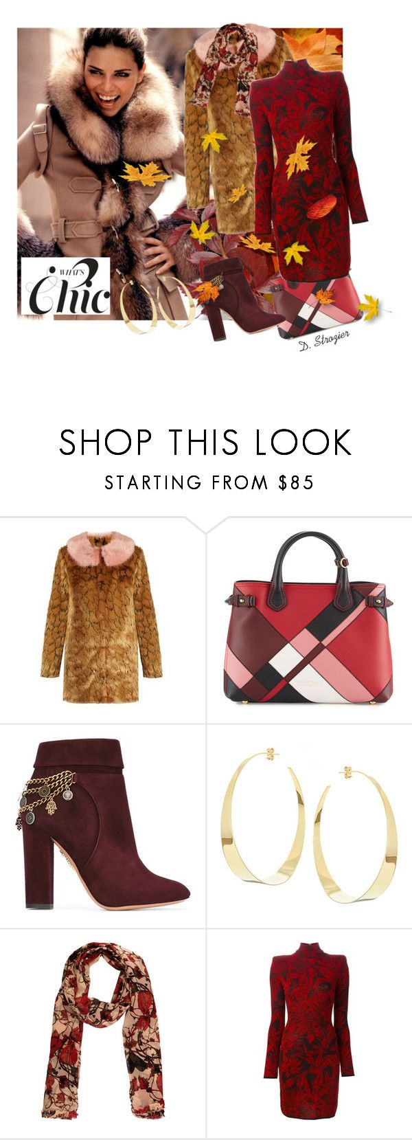 """""""Modern Chic"""" by deborah-strozier ❤ liked on Polyvore featuring Shrimps, Burberry, Aquazzura, Lana, Thomas Wylde, Balmain and modern"""