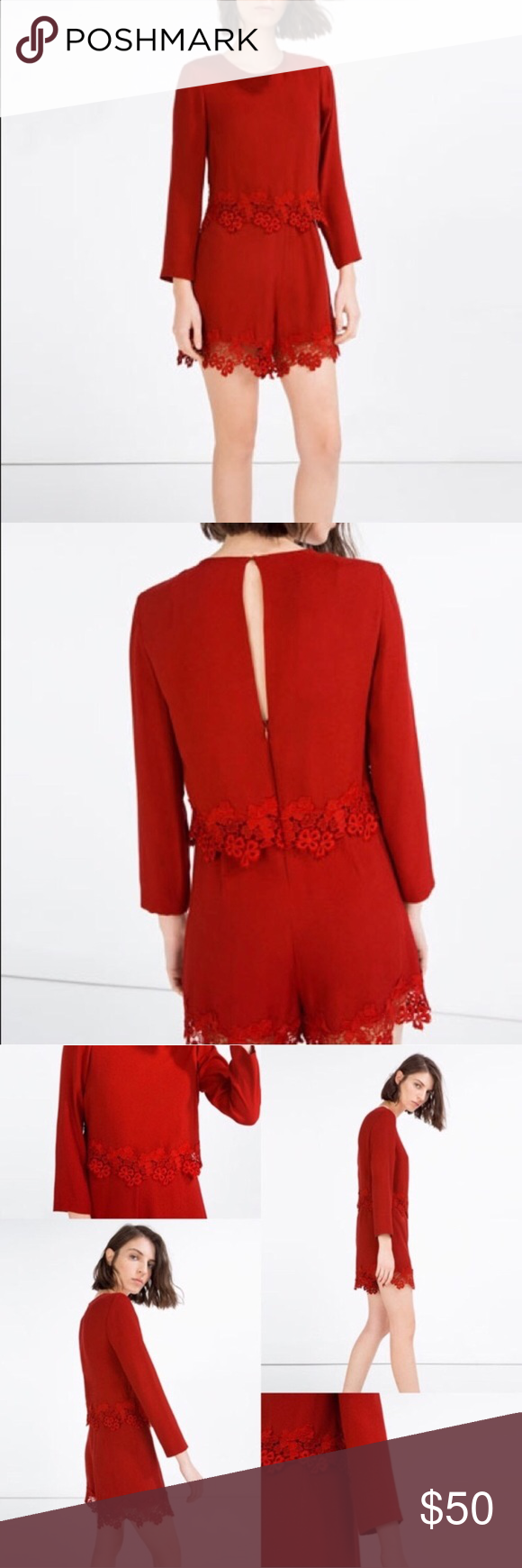 Zara red lace long sleeve romper long sleeve romper red lace and