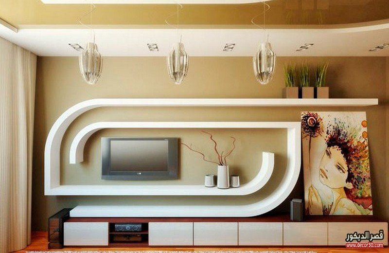 ديكور جبس تلفزيون Lcd ديكورات جبسية للتلفزيون البلازما قصر الديكور Modern Tv Units Wall Tv Unit Design Tv Wall Unit