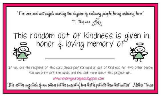Pinterest Pin Of The Day Jan 15 Printable Cards Random Acts Of Kindness Random Act