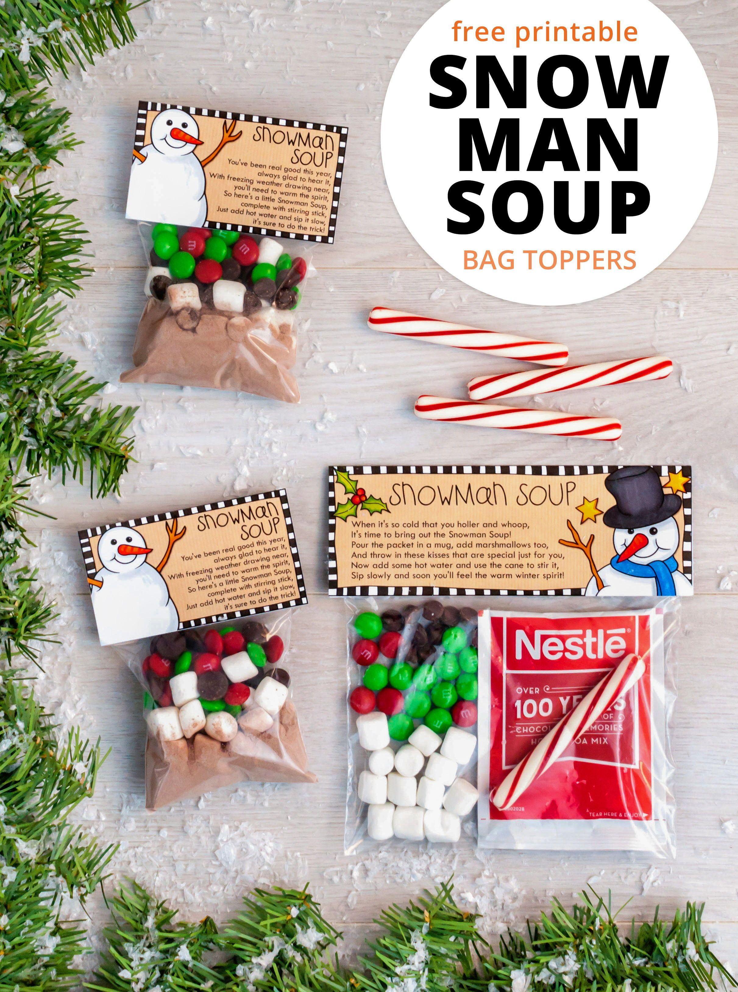 Christmas Printables Trend 2020 Christmas treat bag toppers: Magic Reindeer Treats & Snowman Soup