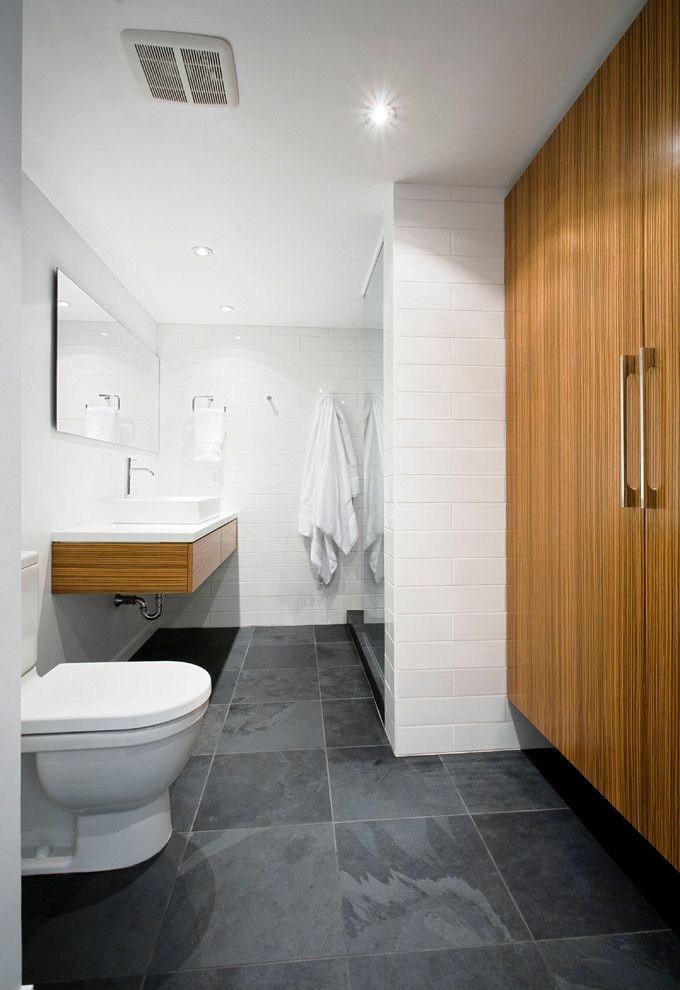 Slate Bathroom Floor Bathroom Modern With White Subway Tile Wall