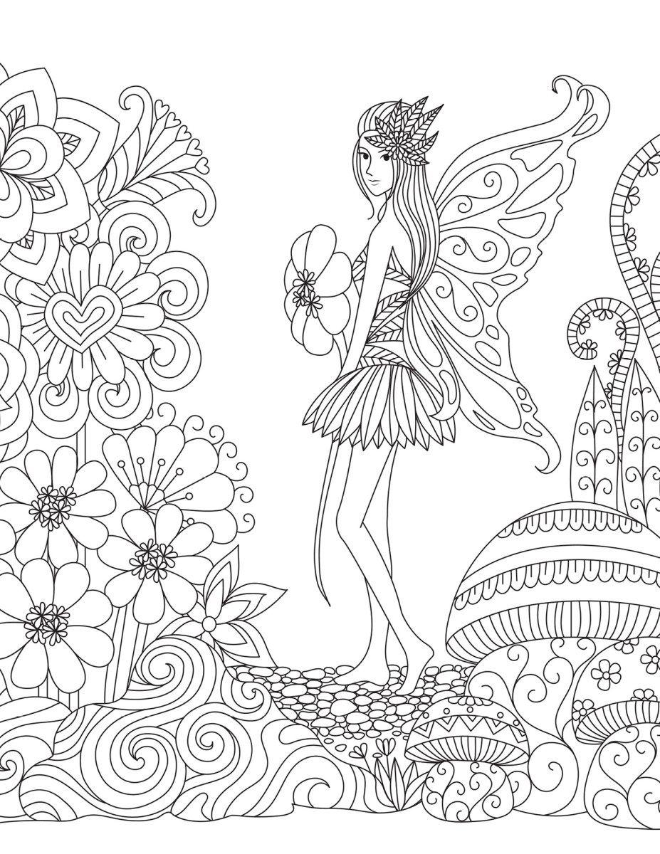 Coloriage Fee Des Eaux.Dessin Fee Des Fleurs Pour Adulte A Colorier Images De