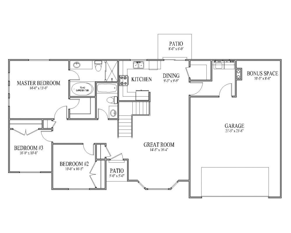 Floorplans rambler house plan ashborn main floor rambler for Main level floor plans