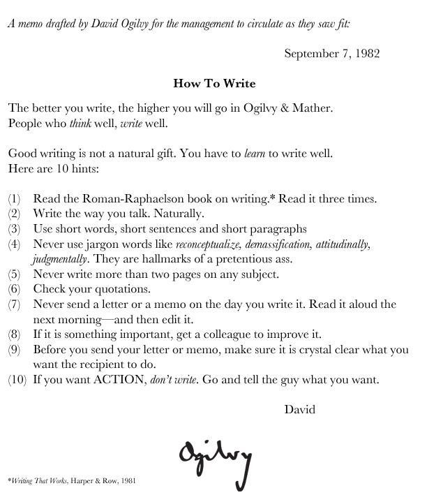 Memo from David Ogilvy, 1982 #advertising #PR Advertising - project memo template