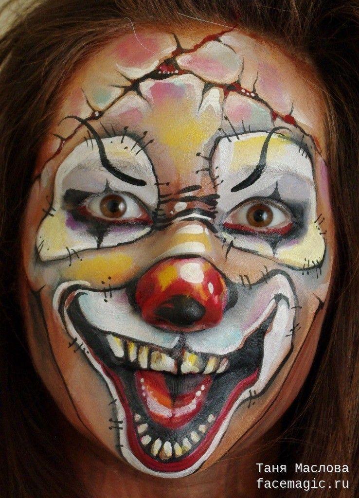 Страшный клоун Аквагрим выполнен Таней Масловой Halloween Makeup - halloween face paint ideas scary