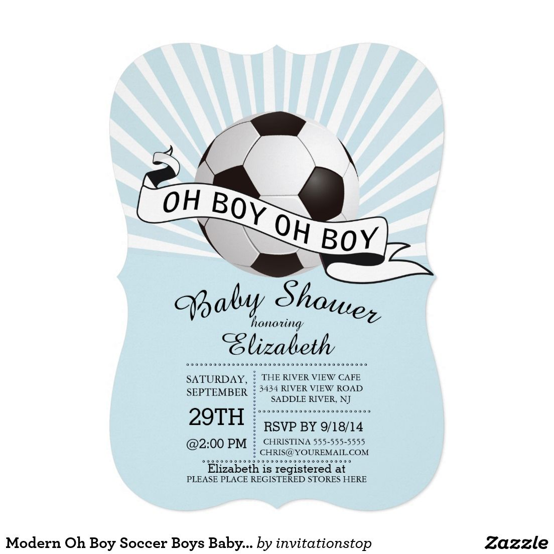 Modern Oh Boy Soccer Boys Baby Shower 5x7 Paper Invitation Card ...