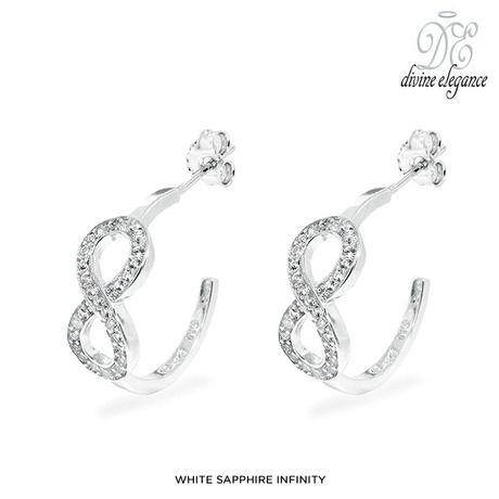Genuine Gemstone Infinity Hoops in Sterling Silver at 89% Savings off Retail!