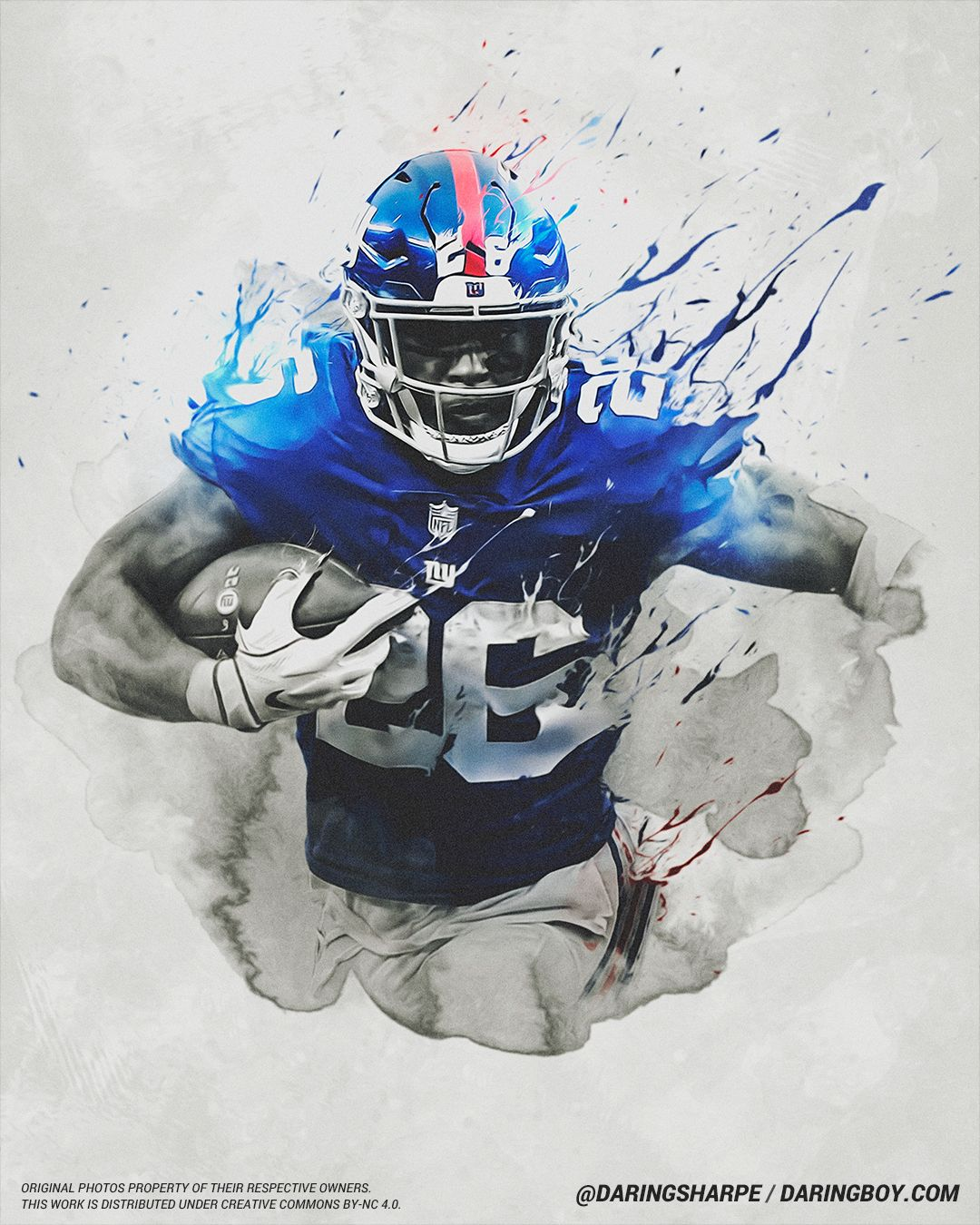 Saquon Barkley, New York Giants Nfl football art, Ny