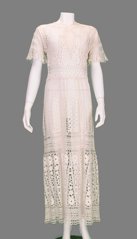 Edwardian eyelet embroidered tea or wedding dress  USA