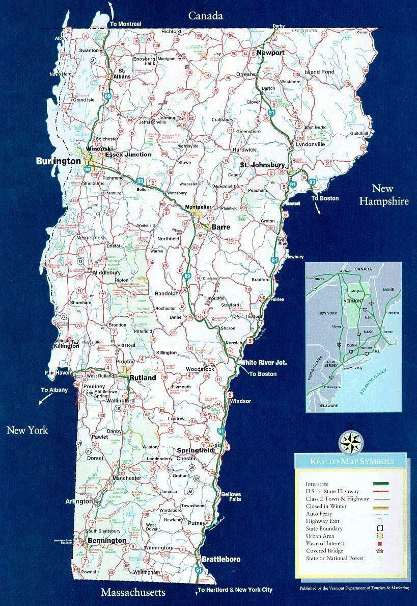 Vermont State Map Statemaplargejpg Places To Visit - Us map vermont