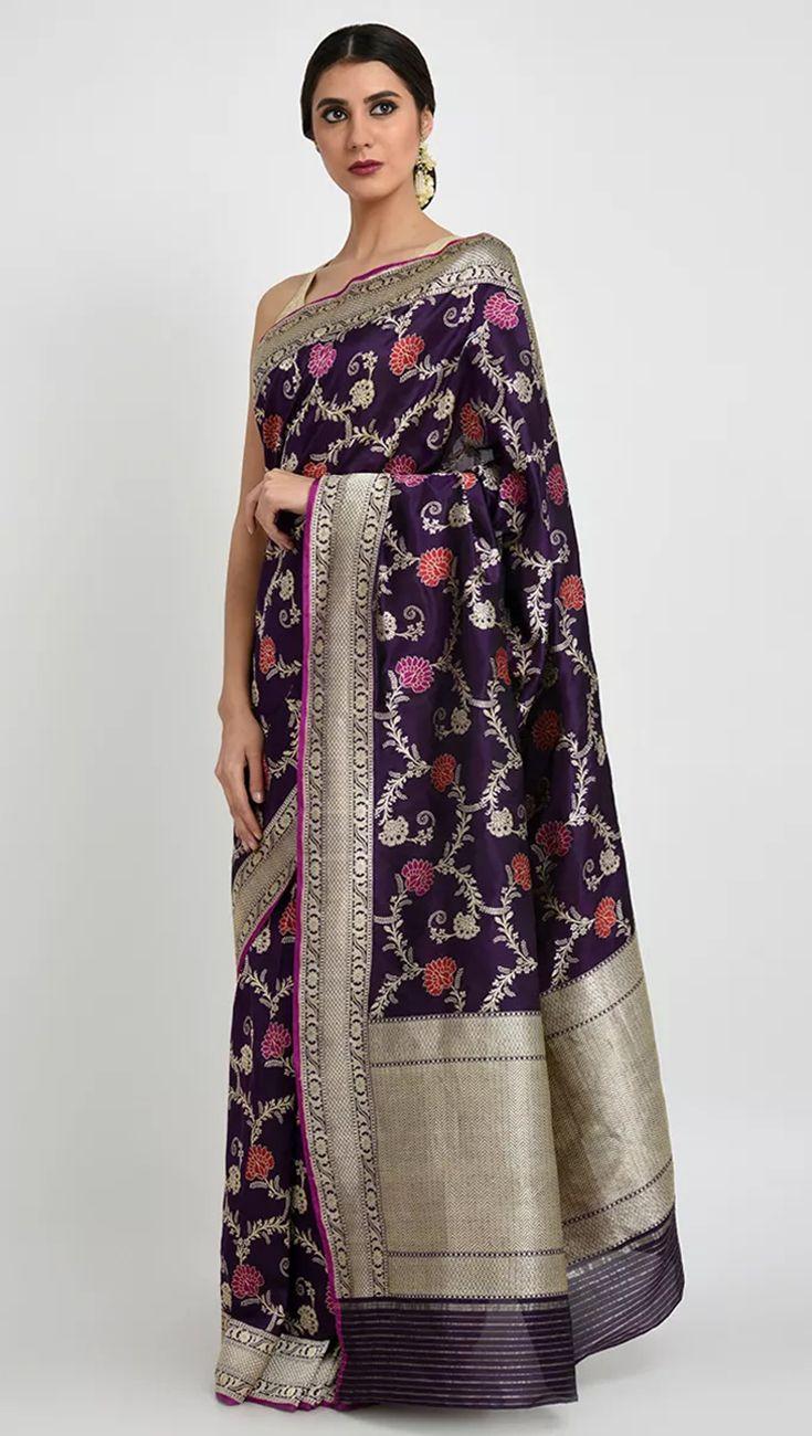 Pure silk saree purple banarasi meenakari zari handwoven pure silk saree  saree