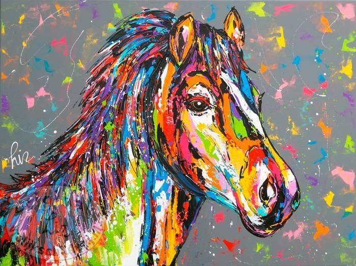 Nieuw Vrolijk Schilderij van een kleurrijk paard (met afbeeldingen AS-93