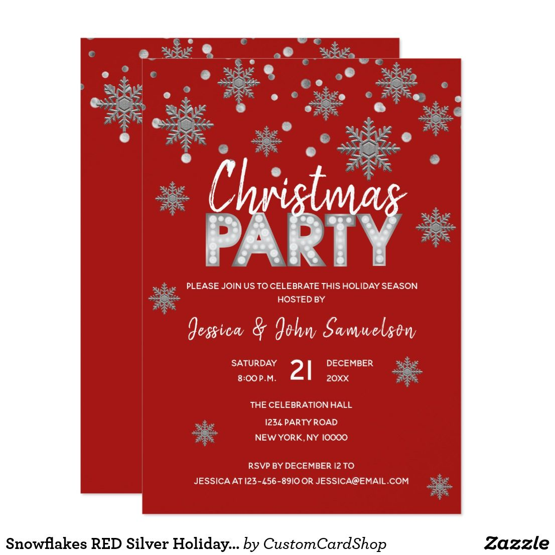 Snowflakes Red Silver Holiday Christmas Party Invitation Zazzle