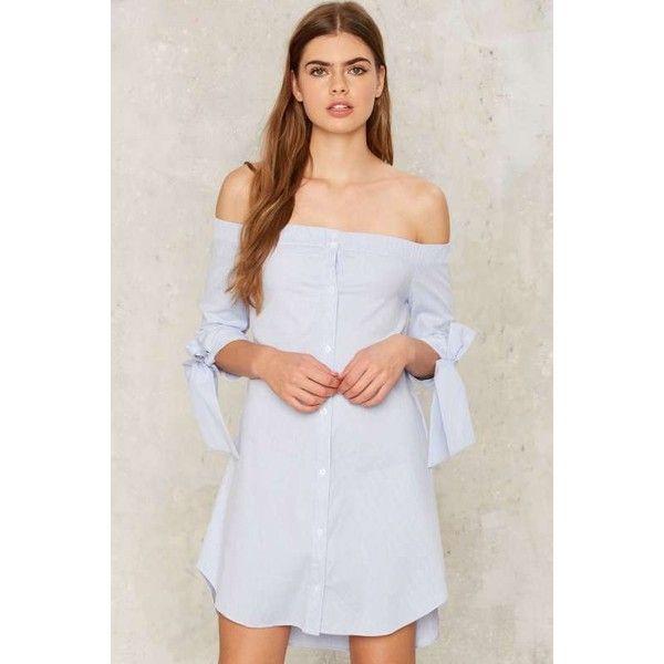 Sasha Off-the-Shoulder Shirt Dress (890 ZAR) ❤ liked on Polyvore featuring dresses, off the shoulder shirt dress, off shoulder sleeve dress, long sleeve shirt dress, pinstripe shirt dress and tie dress