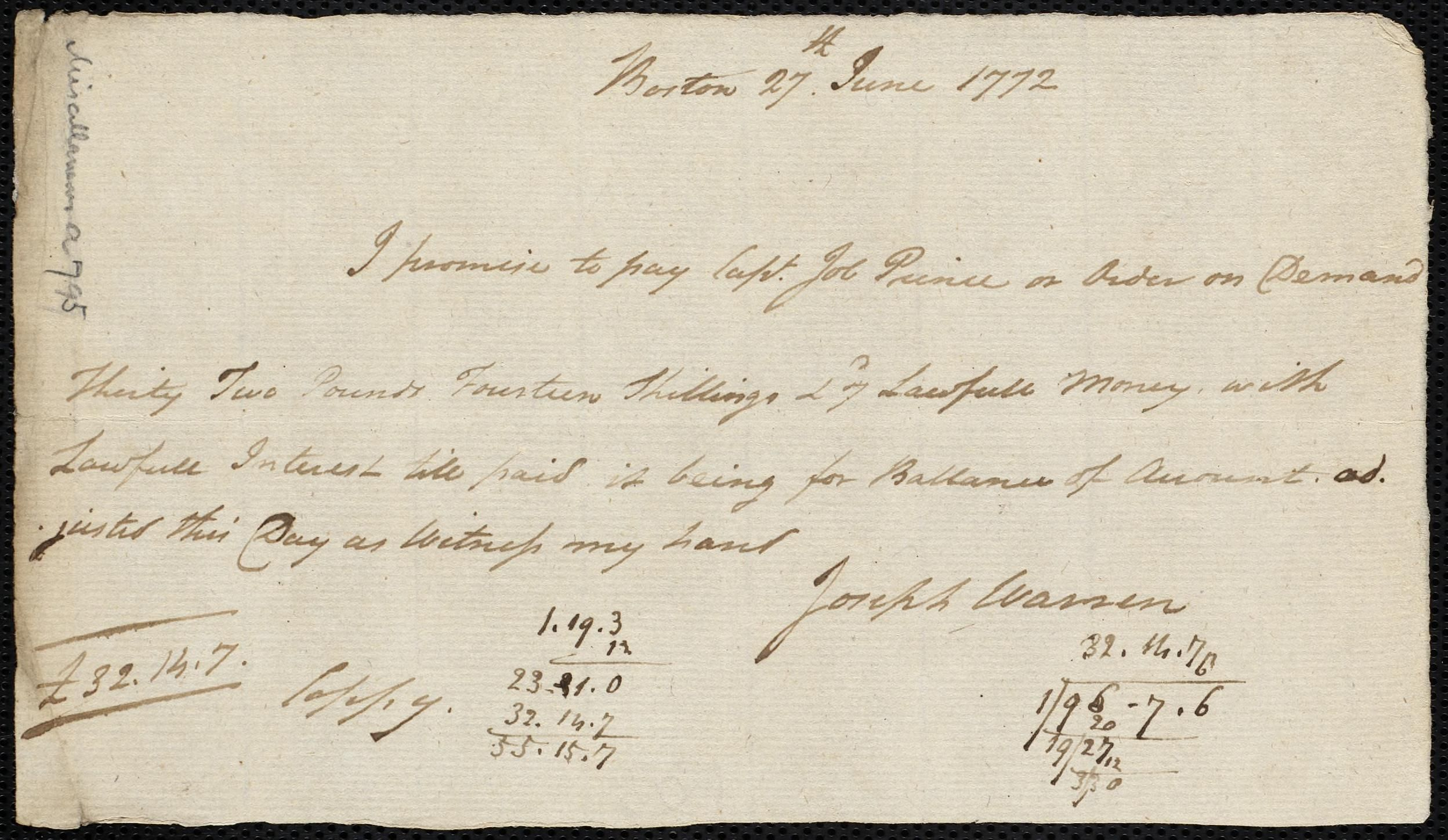 Promissory Note To Job Prince For  Manuscript