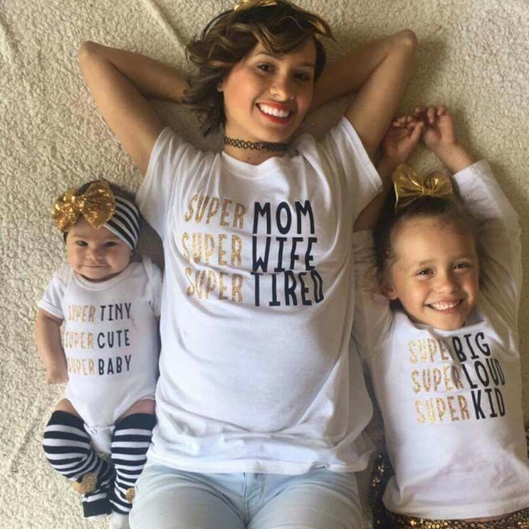 aa26d890b3981 Super Mom Kid Baby Famiy matching T-shirt Kids Tee Letter Bodysuit ...
