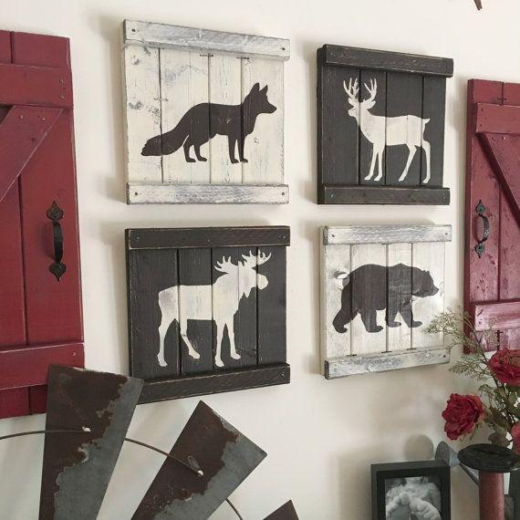 Photo of RUSTIC WOODLAND DECOR set of 4, rustic woodland animals, ski lodge decor, mountain house decor, cabin decor, woodland animal painting