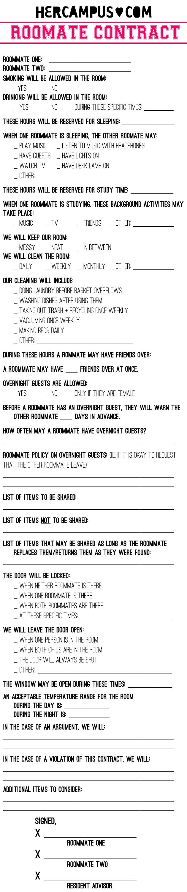 Draft A Roommate Agreement  Roommate Agreement Roommate And