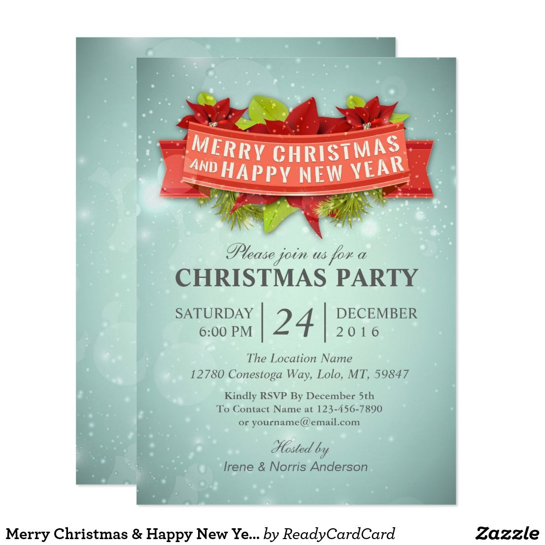 merry christmas happy new year party invitation chic botanical floral poinsettia berry and pines