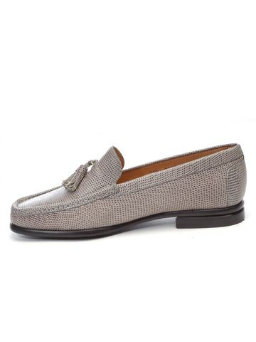 Classic Tasseled Loafer Iguanil Upper (Embossed Lizard) Leather Sole with Black Composite Sole Saver  Hand Fabricated in Italy   Available in: Grey, White Iguanil  Also Featured: Gardy Handbag in Chocolate Buffalo