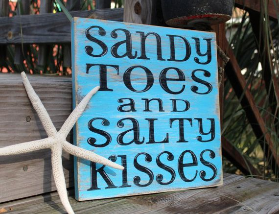 Metal Wall Sign Plaque Art Sandy Toes Beach Holiday Shabby Chic Salty Kisses