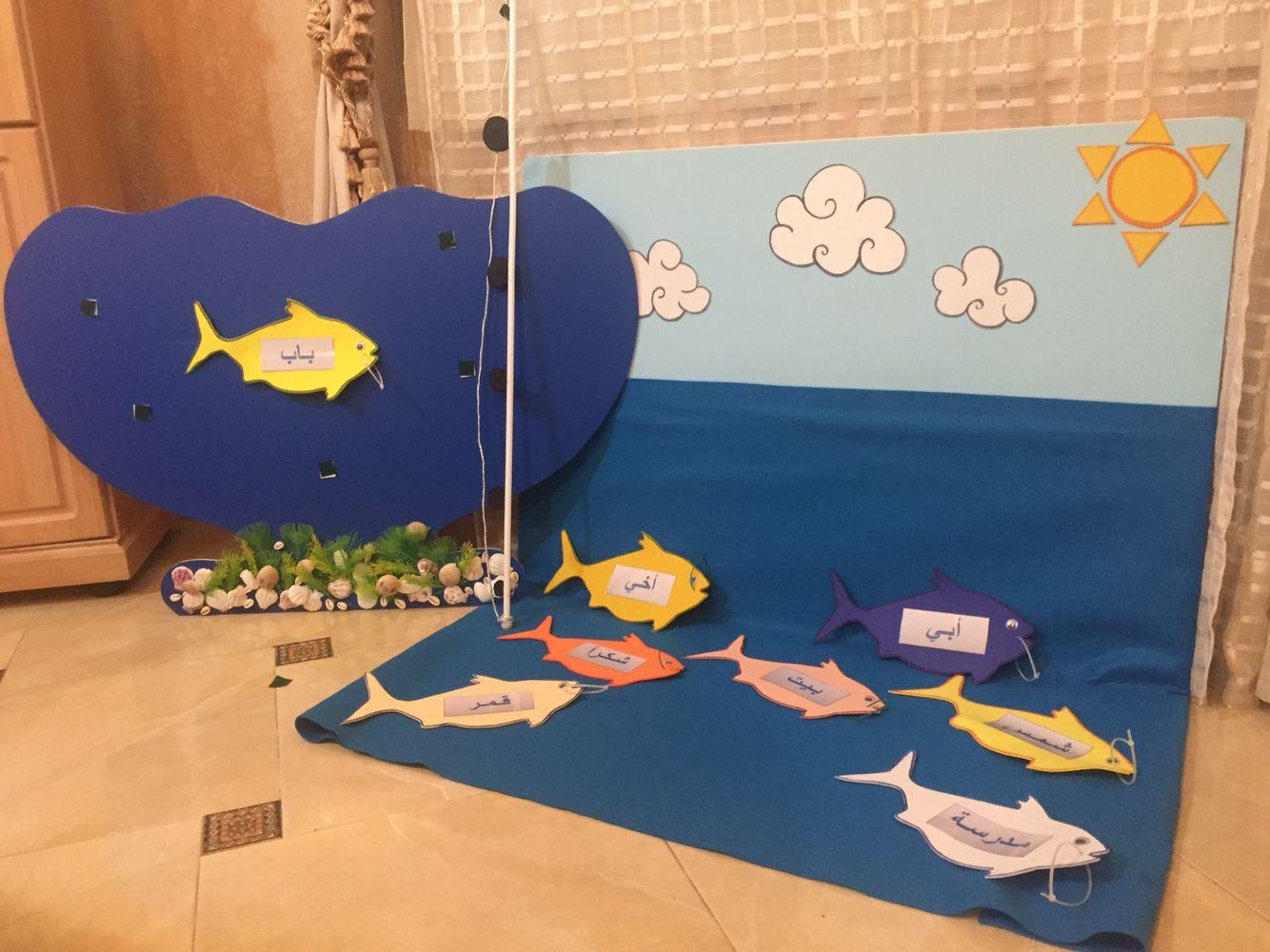 درس مصغر لمهارة التهجئة للكلمات الاكثر تكرارا لوحة عبارة عن سماء و بحر وتوجد الاسماك على هذه اللوح Preschool Activities Hygiene Activities Kids Education