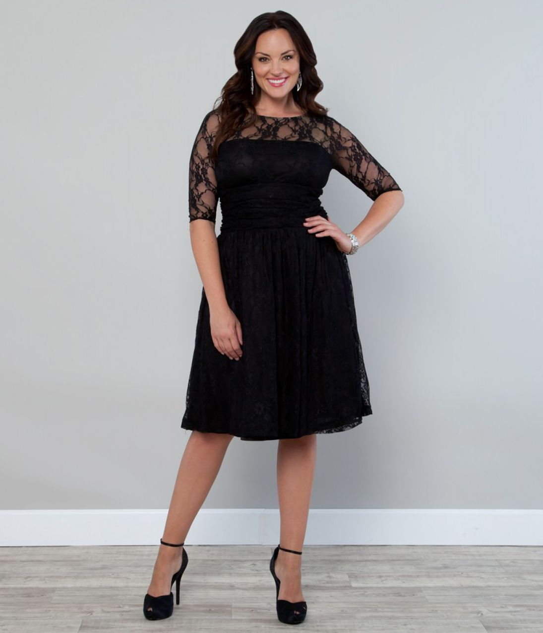 Plus size black luna lace cocktail dress unique vintage prom