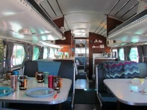 1959 Greyhound Bus Camper Conversion Dinette Sits 8 By Subjects Chosen At Random